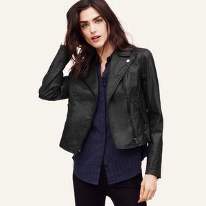 LOFT black coated moto cropped jacket